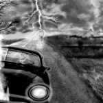 two people in car durning thunderstorm